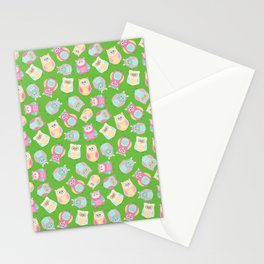 Funny Pastel Owls Pattern - for owl lovers, owl Stationery Cards