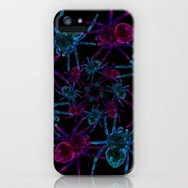 Neon spider spiral iPhone Case