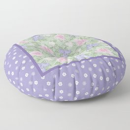 Flower Play Antique over Purple Tiny Flowers Floor Pillow