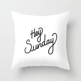 Hey Sunday   [black] Throw Pillow
