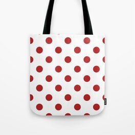 Polka Dots - Firebrick Red on White Tote Bag