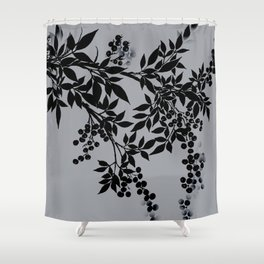 TREE BRANCHES BLACK AND GRAY LEAVES AND BERRIES Shower Curtain