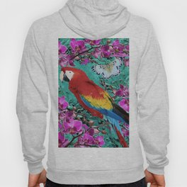 TROPICAL ORCHIDS RED MACAW PARROT JUNGLE ART Hoody