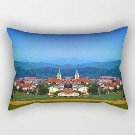 Village skyline on a summer afternoon Rectangular Pillow