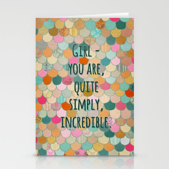 Don't forget, girl - you are, quite simply, incredible. Stationery Cards