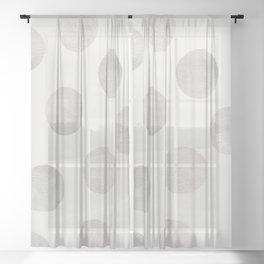 Silver Polka Dots Sheer Curtain