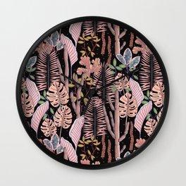 Pink mystery garden. Wall Clock