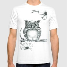 Fictional Owl White Mens Fitted Tee MEDIUM