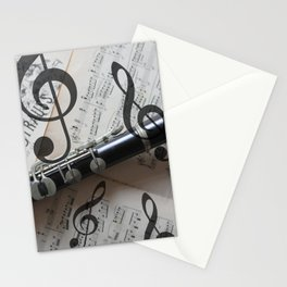 clef music notes white black clarinet Stationery Cards