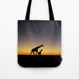 African Sunset Giraffe Silhouettes Tote Bag