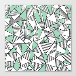 Abstraction Lines with Mint Blocks Canvas Print