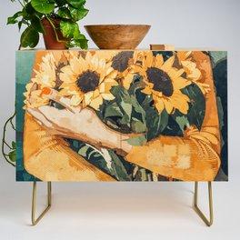 Holding Sunflowers #society6 #illustration #nature #painting Credenza