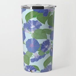 Glory Bee - Vintage Floral Morning Glories and Bumble Bees Travel Mug