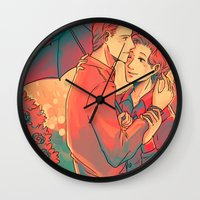 umbrella Wall Clocks featuring Umbrella by Arisu
