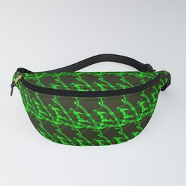 Braided geometric pattern of wire and dark arrows on a blue background. Fanny Pack