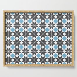 8 Point Star Pattern, Dusk Blue, Charcoal Black Serving Tray