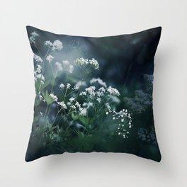 Blue and White Baby's Breath Garden Throw Pillow
