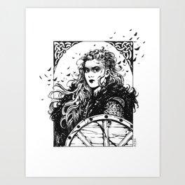 Ink Shield-maiden Art Print
