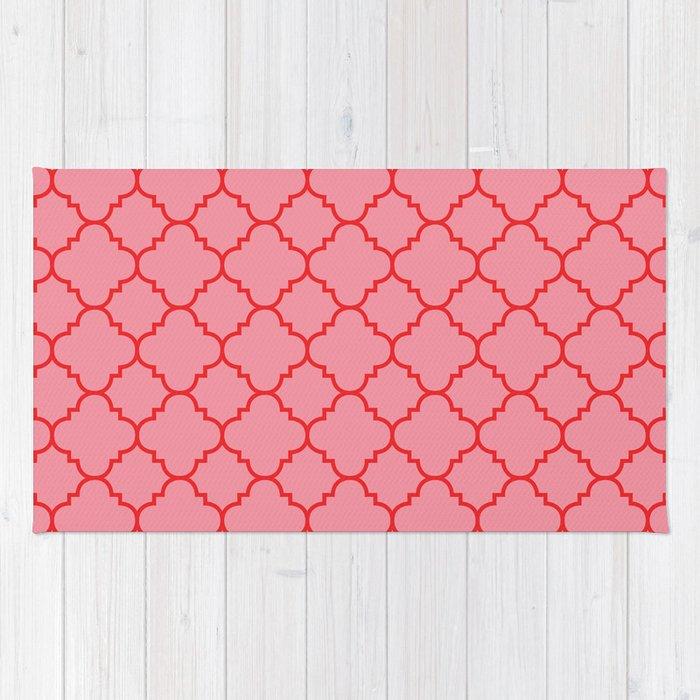 Quatrefoil - Pink & Red  Rug