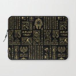 Egyptian hieroglyphs and deities gold on black Laptop Sleeve
