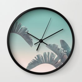 Tropical Palm Leaves In Pastel Light Wall Clock