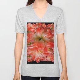 Black-Red Amaryllis Floral Pattern Unisex V-Neck