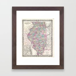 Vintage Map of Illinois (1855) Framed Art Print