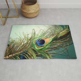 peacock feather-teal Rug