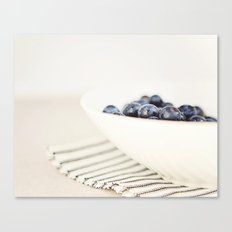 Blueberries in Bowl - Kitchen Art - Food Photography Canvas Print