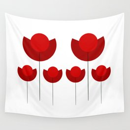 Simple red Tulips Wall Tapestry