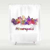 minneapolis Shower Curtains featuring Minneapolis skyline in watercolor by Paulrommer
