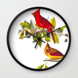 Cardinal Vintage Bird Illustration Wall Clock