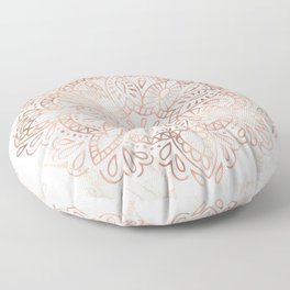 Rose Gold Mandala Marble Floor Pillow