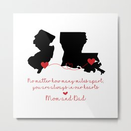 New Jersey + Lousianna Love Mom and Dad Metal Print