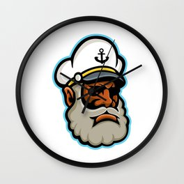 Black Sea Captain or Skipper Mascot Wall Clock