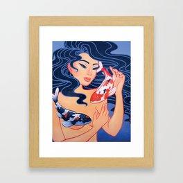 Koi Fish Girl Framed Art Print