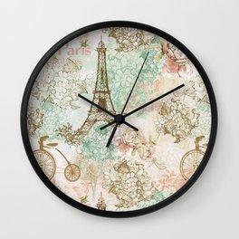 I love Paris- Vintage Shabby Chic - Eiffeltower France Flowers Floral Wall Clock