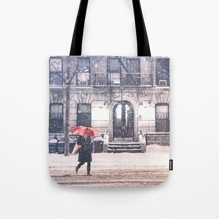 New York City Snow and Red Umbrella Tote Bag