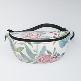 Watercolor Vintage Floral Pattern Fanny Pack