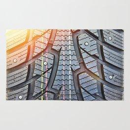 Background tread pattern winter tire Rug