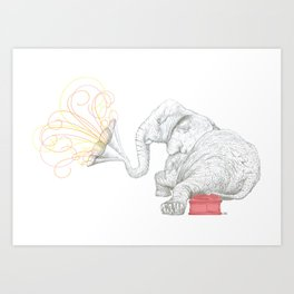 One Elephant Band Art Print