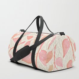 Coral Pink Leaves On Gold Duffle Bag