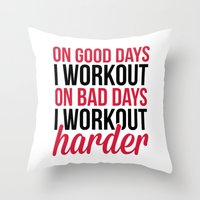 workout Throw Pillows featuring Workout Harder Gym Quote by EnvyArt