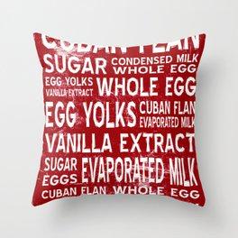 Cuban Flan Word Food Art Poster (Red) Throw Pillow
