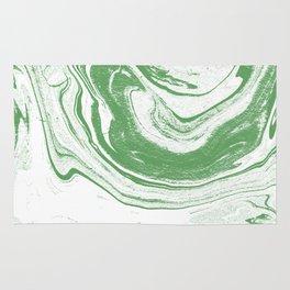 Marble suminagashi spilled ink 4 swirl marbled pattern basic green and white Rug
