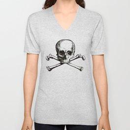 Skull and Crossbones | Jolly Roger | Pirate Flag | Black and White | Unisex V-Neck