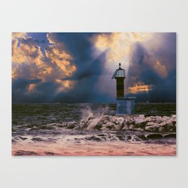 Light House in storm Canvas Print
