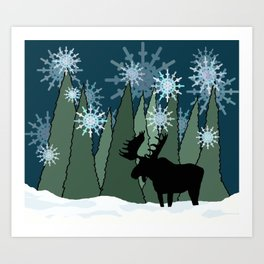 Moose in the Snowy Forest Art Print