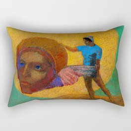 "Odilon Redon ""Figure Holding the Head of an Angel (also known as The Fall of Icarus)"" Rectangular Pillow"