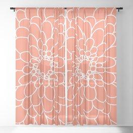 Coral Chrysanth Sheer Curtain